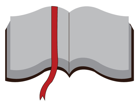 Open book with white pages and red page marker vector illustration on white background.