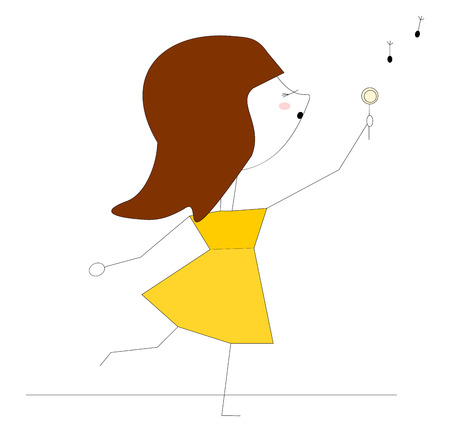 A Girl in yellow dress holding chocolate in hand vector color drawing or illustration.