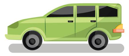 Light green family car vector illustration on white background.