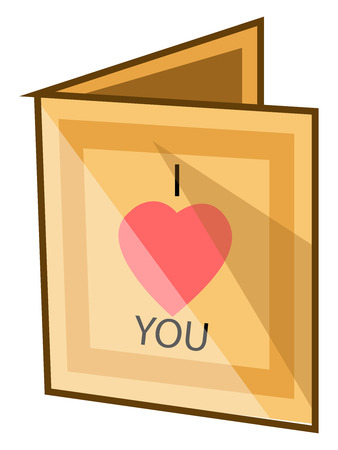 A greeting card in yellow color with saying I Love You, vector, color drawing or illustration.
