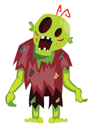 Cartoon zombie on white background vector illustration.
