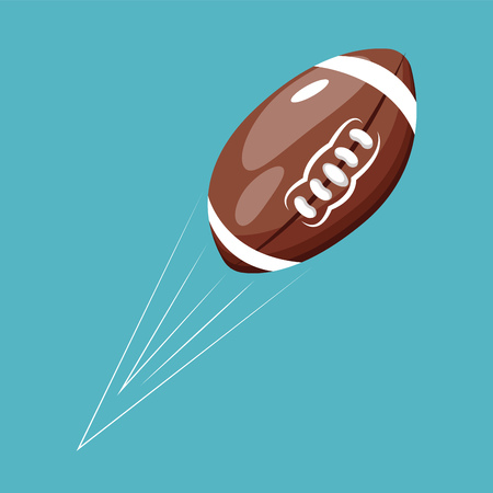 A Rugby ball in brown color with two ends in white color vector color drawing or illustration. Illustration