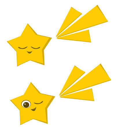 Two yellow stars out of which one is closing its eyes and other one with one eye opened and one eye closed vector color drawing or illustration.