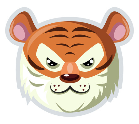 A Tiger face with white fur around in white background, vector, color drawing or illustration. Vectores