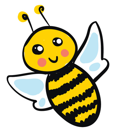 A smiling yellow bee with sparkling eyes, pink cheeks and a blue wings, cartoon, vector, color drawing or illustration. Illustration