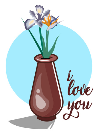 A Flower pot with blue flowers in it with a quote 'I love you', in sky blue background, vector, color drawing or illustration. Ilustrace
