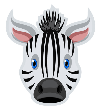 A Zebra Face in white black with stripes, with blue eyes and pink ears, vector, color drawing or illustration.