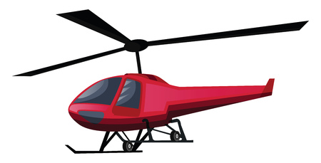 Vector illustration of red helicopter on white background. 矢量图像