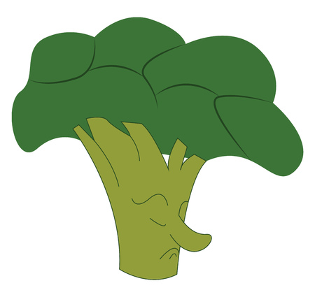 A broccoli shaped like a cloud with a feet vector color drawing or illustration.