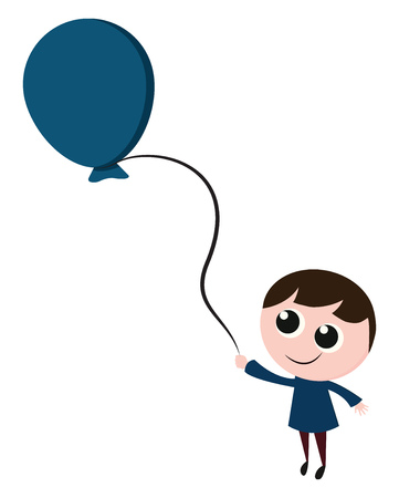 A happy boy in a blue shirt with big eyes and a blue balloon, cartoon, vector, color drawing or illustration. Illustration