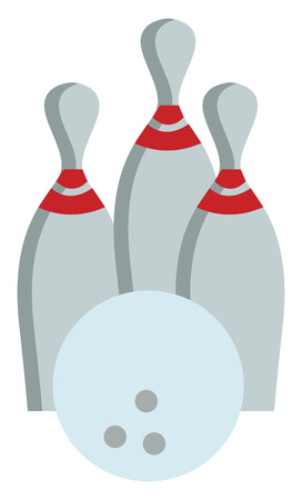 A bowling ball with 3 bowling pins, vector, color drawing or illustration.