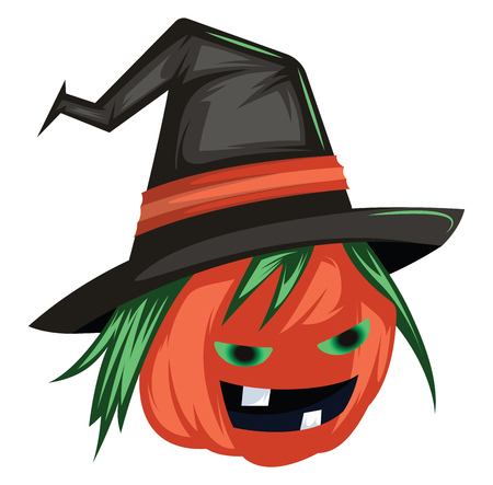 Scary evil pumpkin cartoon character with big black witch hat vector illustration on white background.