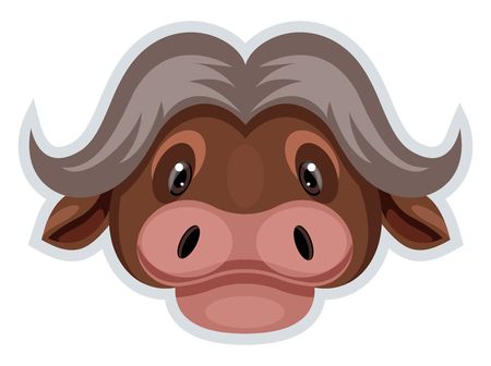 A Buffalo head in brown color with curved horns, vector, color drawing or illustration.