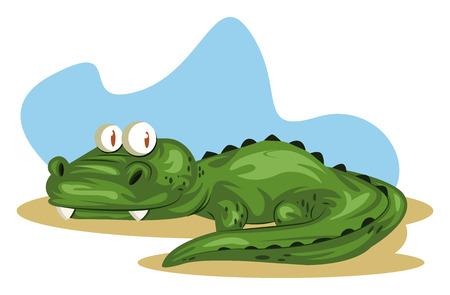 Zielony krokodyl leżenie i oglądanie w błękitnym tle, wektorze, kolorowym rysunku lub ilustracji.