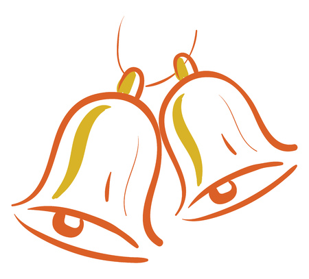 Two orange colored bell that looks like two human eyes, cartoon, vector, color drawing or illustration.  イラスト・ベクター素材