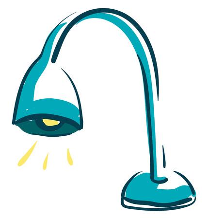 Eine blaue Lampe mit gelbem Licht, Vektor, Farbzeichnung oder Illustration.