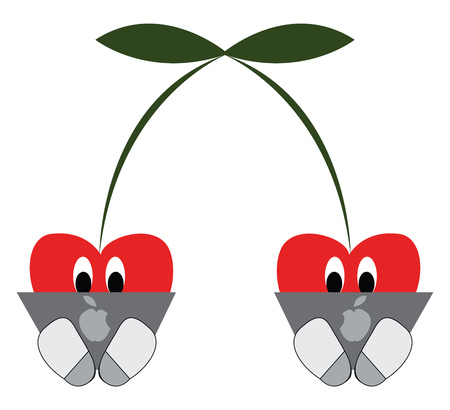 Two cherries working on laptops vector illustration on white background.