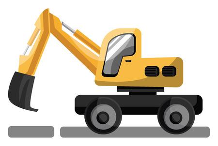 Big yellow cartoon style crane vector illustration on white background.