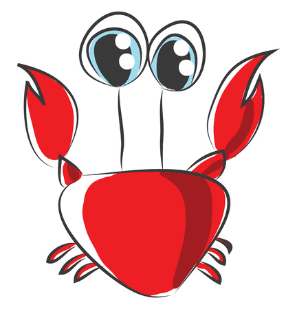 Cartoon of red crab vector illustration on white background.