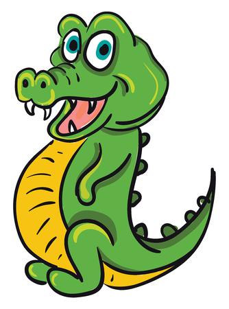 Un coccodrillo verde felice con grandi occhi azzurri, denti affilati e una pancia gialla, un cartone animato, un vettore, un disegno a colori o un'illustrazione. Vettoriali