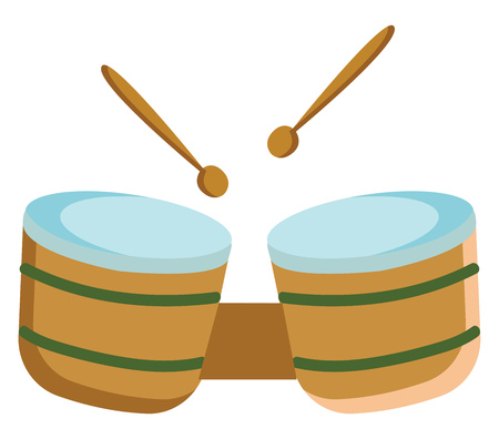 A yellow and blue colored bongo drum with two drum sticks, vector, color drawing or illustration. Stock Illustratie