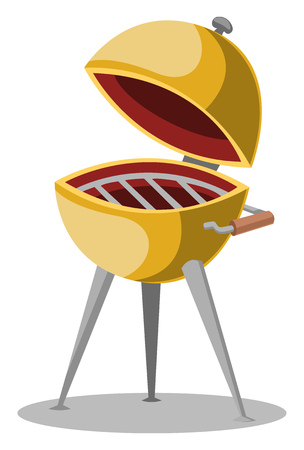 A Bowl with lid on electric stand bowl and lid are in yellow color vector color drawing or illustration.