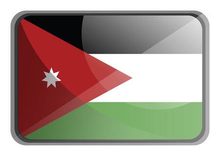 Vector illustration of Jordan flag on white background. Stock Illustratie