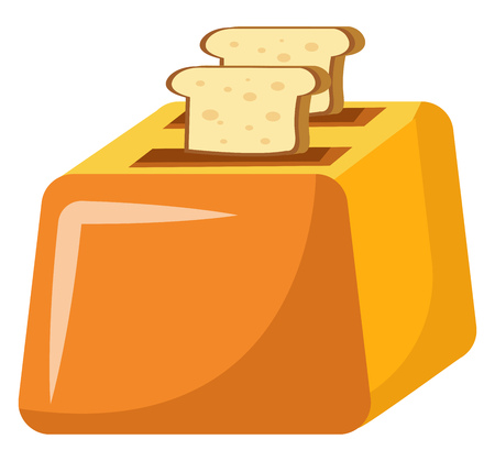 A Sandwich toaster popping out two bread slices vector color drawing or illustration.