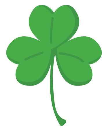 Green clover with three leafs vector illustration on white background. Vektorové ilustrace
