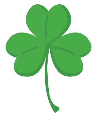 Trébol verde con tres hojas ilustración vectorial sobre fondo blanco. Ilustración de vector