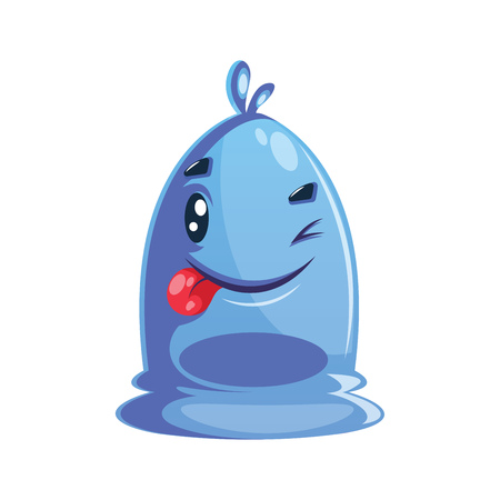 Winking blue cartoon character with tongue out. 矢量图像