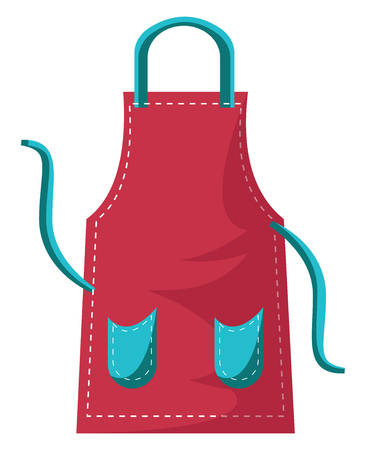 Kitchen apron in red color worth blue pockets thread to tie the apron vector color drawing or illustration. 向量圖像