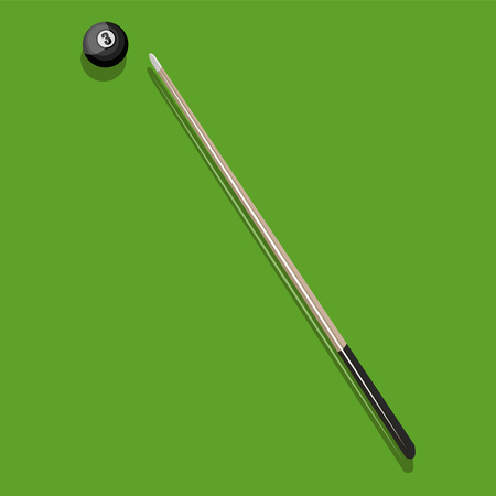 A Billiards stick and a ball on green table sticks handle is in black color vector color drawing or illustration. Illusztráció
