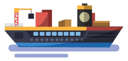 Colorfull minimalistic vector illustration of trasport ship on white background. Illustration