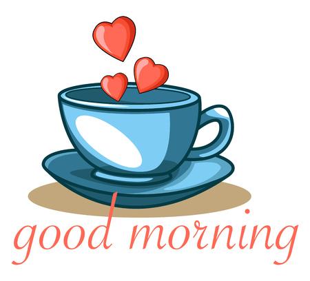 Een blauwe koffiekop met hartvormen met een citaat 'goedemorgen', vector, kleurentekening of illustratie.