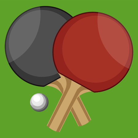 Table Tennis bats with ball in green background vector color drawing or illustration.