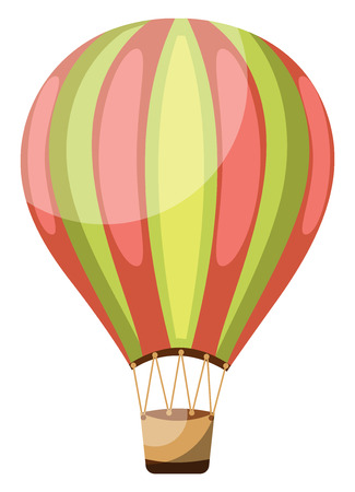 Green and pink vintage hot air balloon vector illustration on white background.
