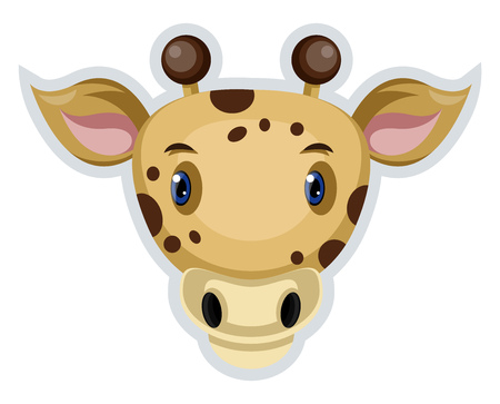 A Dotted cow face with pink ears and round horns, vector, color drawing or illustration. Çizim