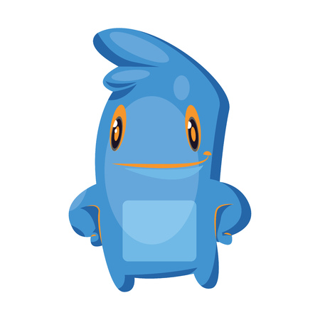 Blue cartoon monster standing white background vector illustration. 일러스트