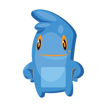 Blue cartoon monster standing white background vector illustration. Illustration