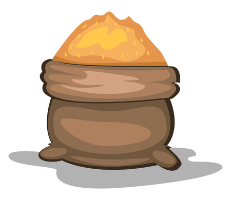 A Brown dish filled with food  vector color drawing or illustration.