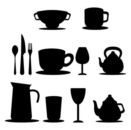 A Tea set with tea pot tea jug cup spoon set and glass vector color drawing or illustration.