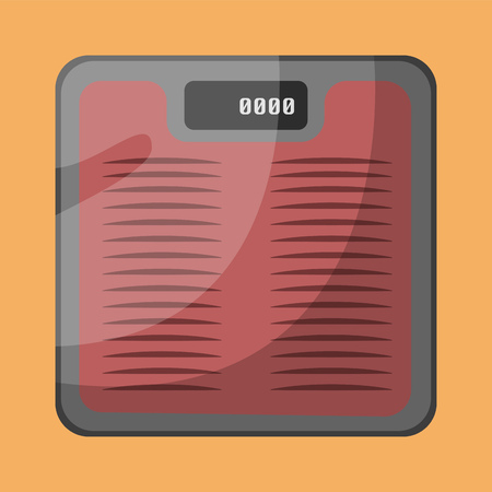 A glass Weighing scale to check for the weight In orange background vector color drawing or illustration.