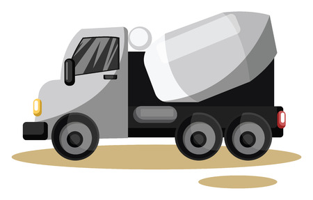 vector illustration of grey cement mixer vehicle on white background.