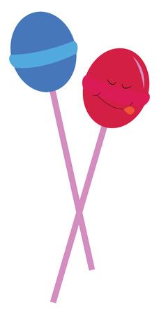 Blue and pink lollipops vector illustration on white background.