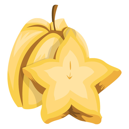 Vector illustration of a yellow starfruit half a starfruit cut in half white background.