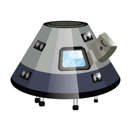 Gray minimalistic spaceship vector illustration on white background