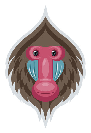 A Brown shaded money face with pink nose and mouth, vector, color drawing or illustration.