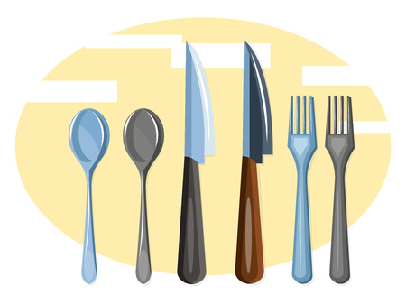 A Cutlery set with knifes spoons and forks vector color drawing or illustration.  イラスト・ベクター素材