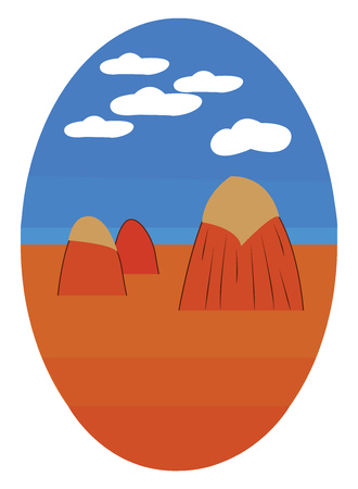 An egg shape drawing of stack of hay in a blue sky with 5 white clouds above it, vector, color drawing or illustration.